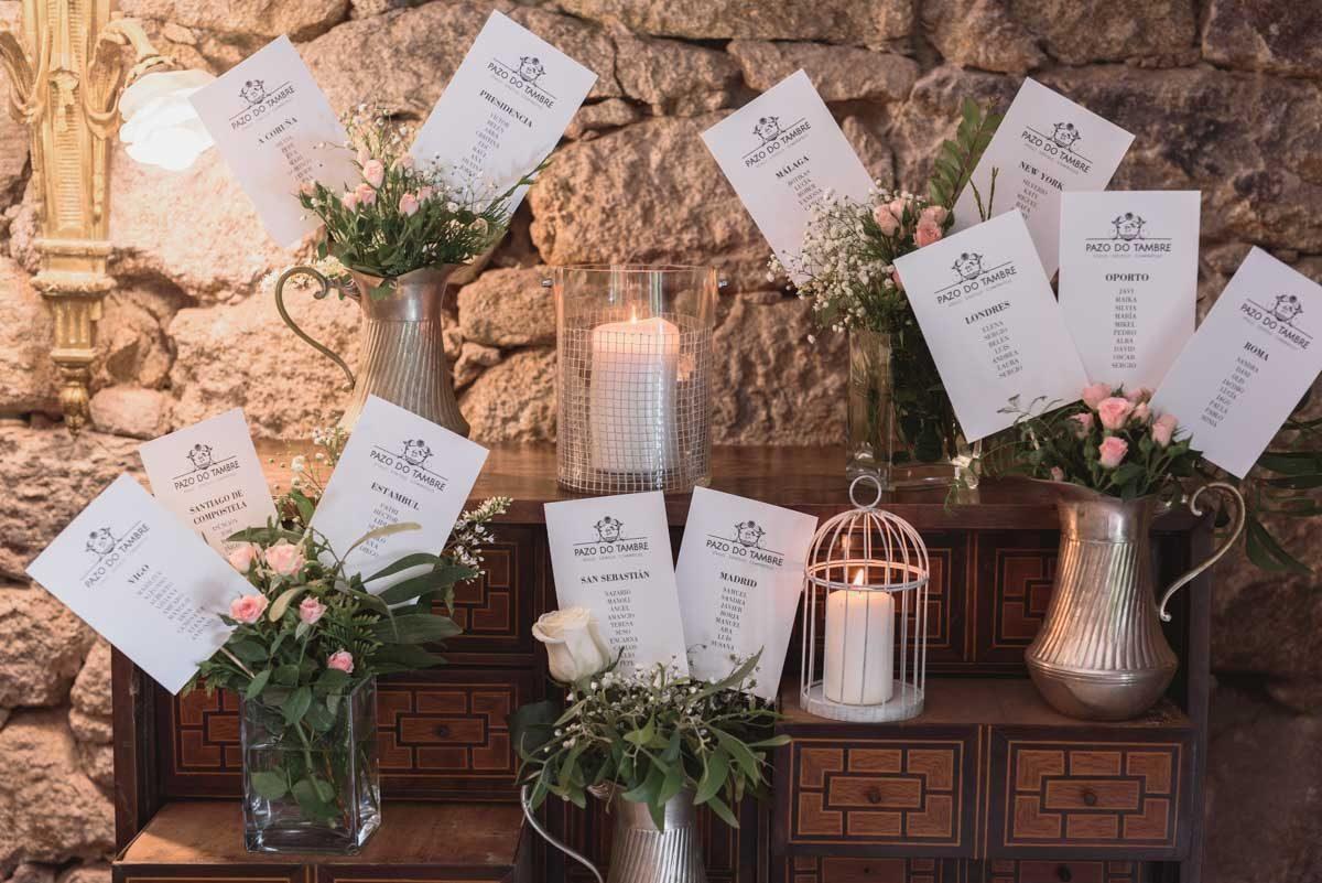 decoración de boda pazo do tambre